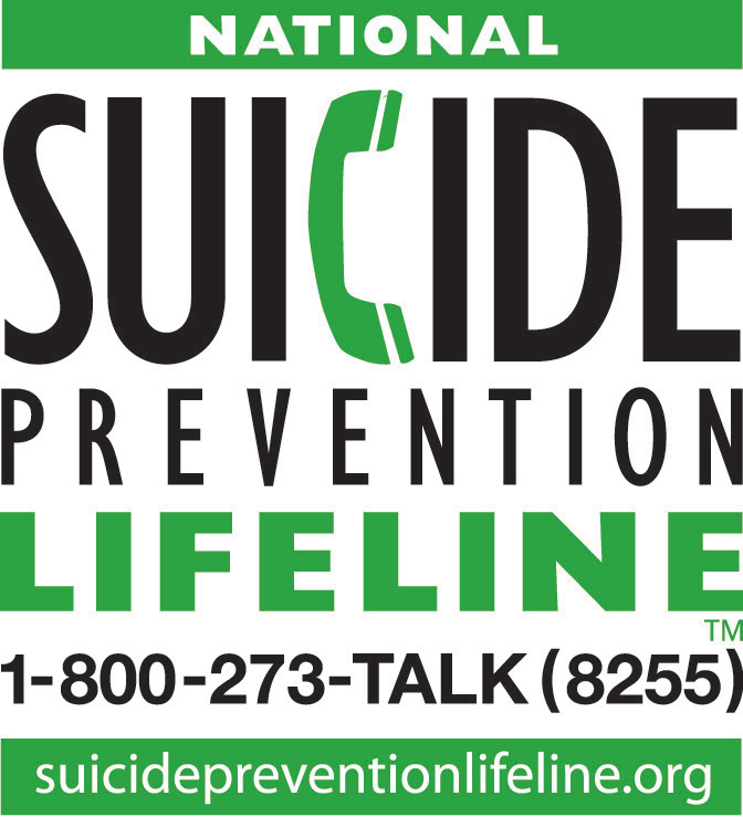 National Suicide Prevention Lifeline. 1-800-273-TALK(8255). Suicidepreventionlifeline.org